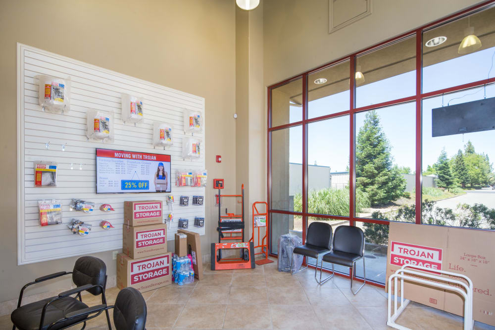 Front office with storage supplies for sale at Trojan Storage in Roseville, California