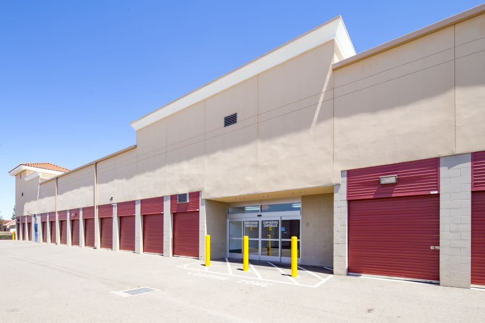 Ground-floor storage units at Trojan Storage in Roseville, California