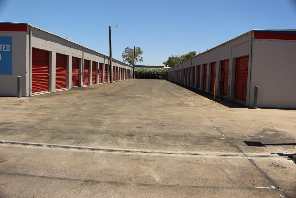 Drive-up units at Trojan Storage in Tempe, Arizona