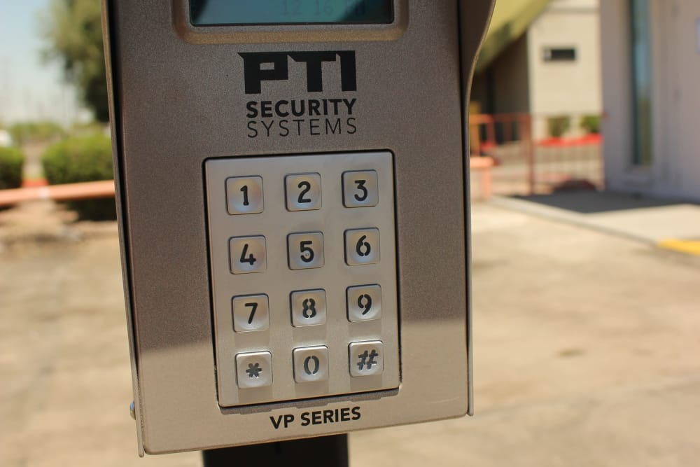 Keypad entrance at Trojan Storage in Tempe, Arizona