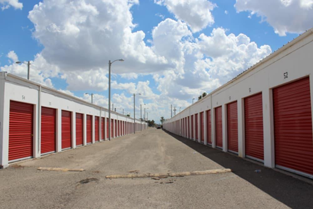 Drive-up storage units at Trojan Storage in Tucson, Arizona