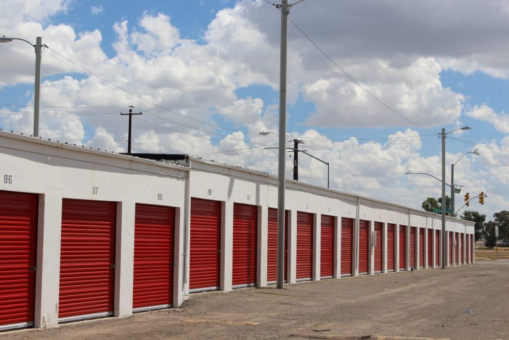 Ground-floor storage units at Trojan Storage in Tucson, Arizona