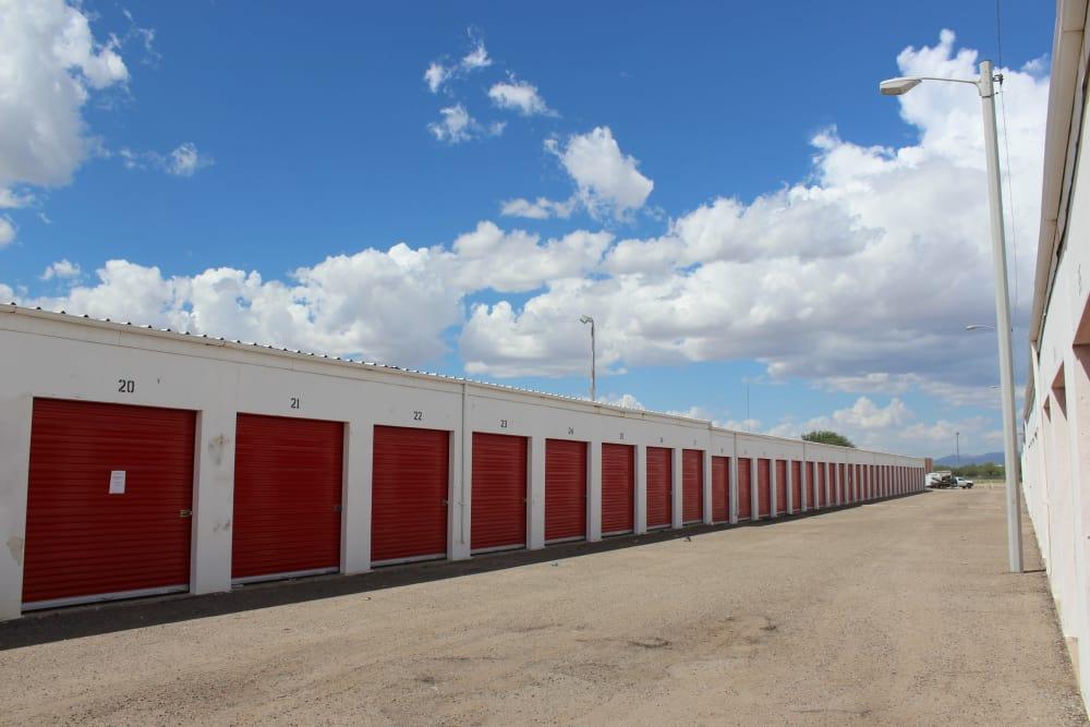 Exterior storage units at Trojan Storage in Tucson, Arizona