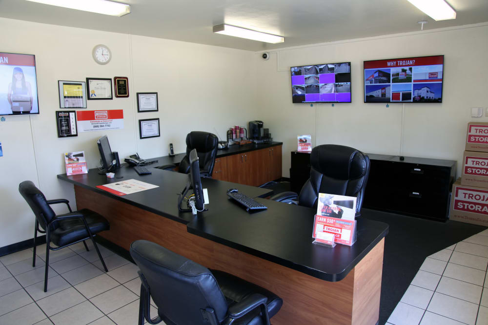 Front office at Trojan Storage in Ontario, California