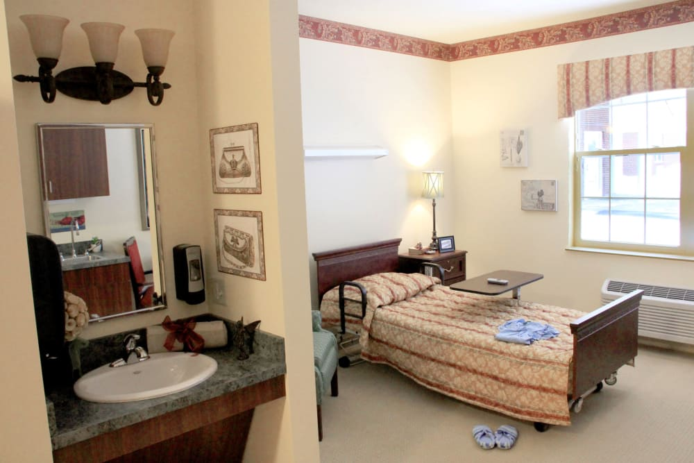 An apartment bedroom at Avalon Springs Health Campus in Valparaiso, Indiana