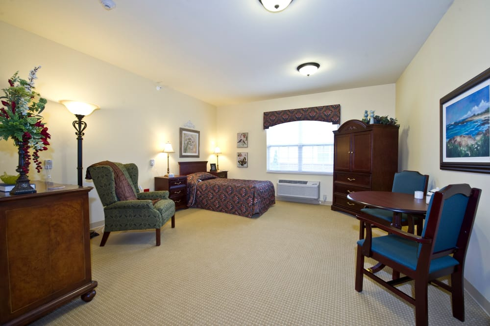 Studio living room and bedroom at Avalon Springs Health Campus in Valparaiso, Indiana
