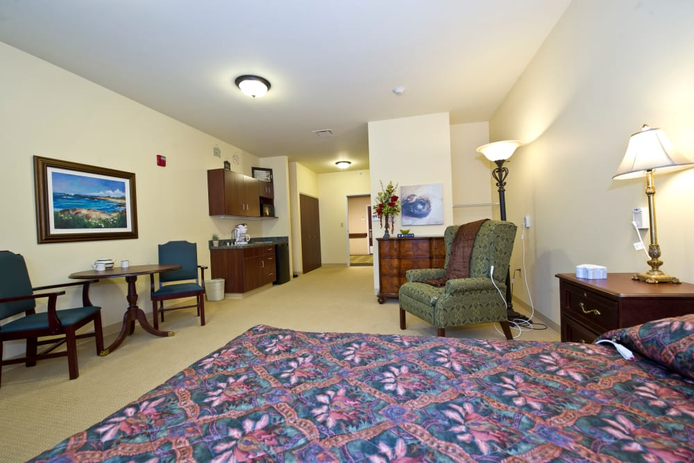 Studio apartment kitchen and living room at Avalon Springs Health Campus in Valparaiso, Indiana