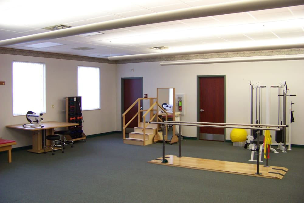 Equipment in the rehabilitation room at Briar Hill Health Campus in North Baltimore, Ohio