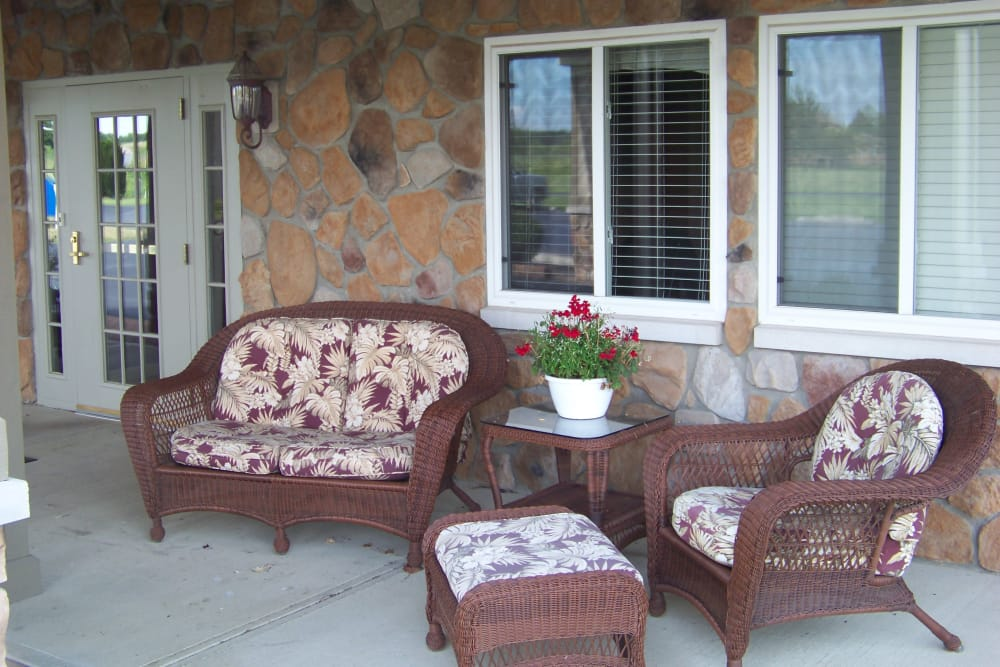 Seating on the front porch at Briar Hill Health Campus in North Baltimore, Ohio