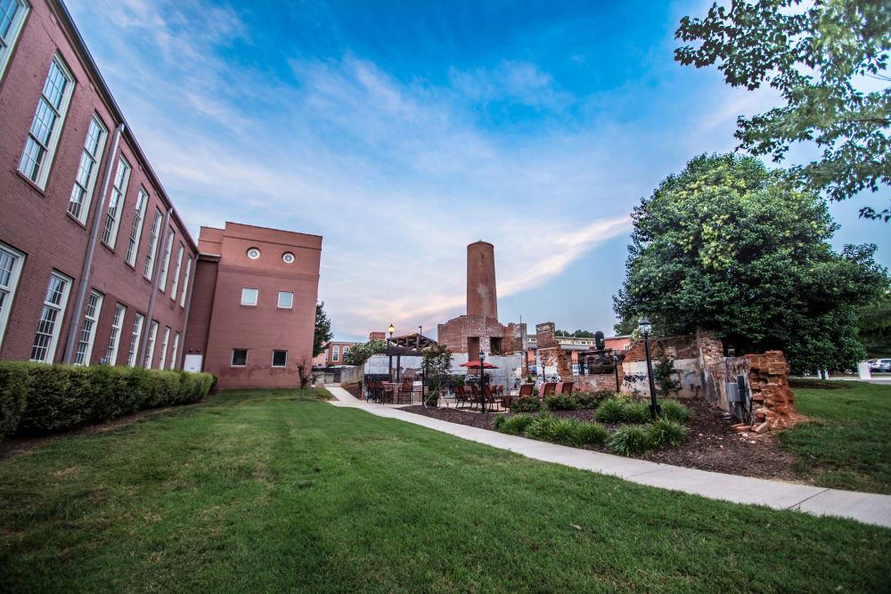 Beautiful walking paths at Highland Mill Lofts in Charlotte, North Carolina