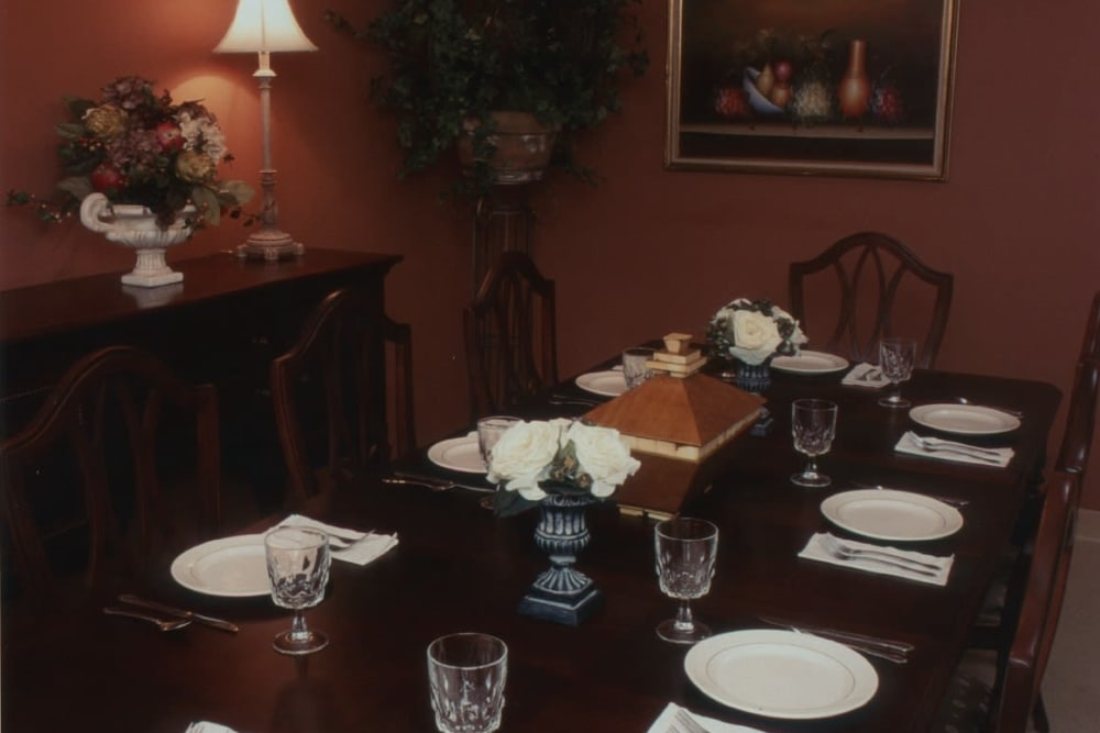 Private dining room at BridgePointe Health Campus in Vincennes, Indiana