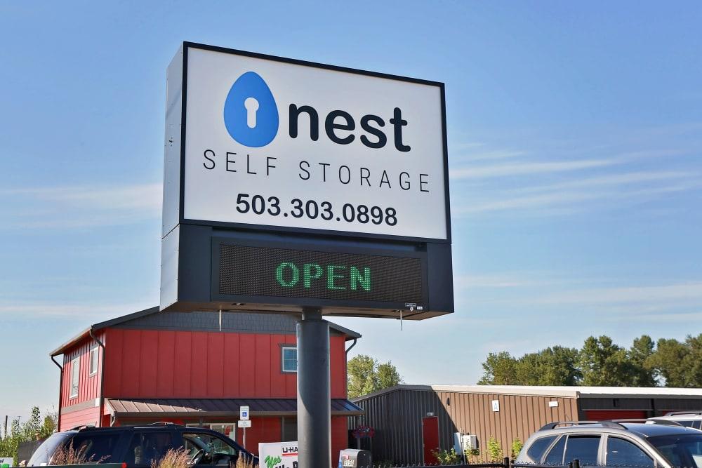 Open sign at Nest Self Storage in Salem, Oregon