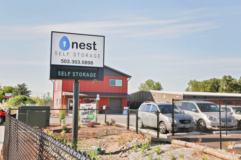 View of building from the highway at Nest Self Storage in Salem, Oregon