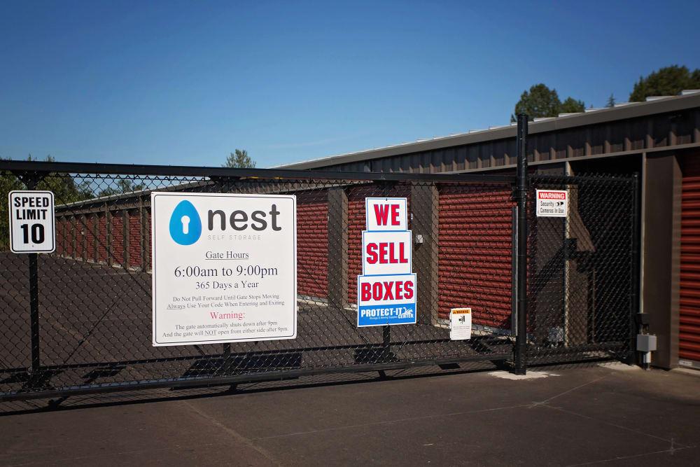 Gated Entrance to storage units at Nest Self Storage in Salem, Oregon