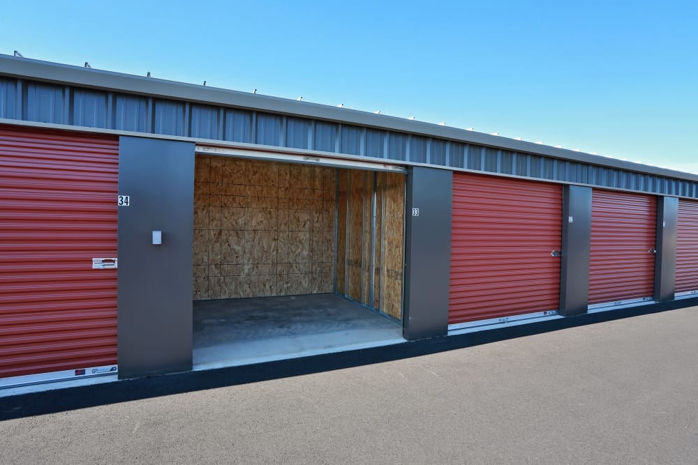 Line of storage units at Nest Self Storage in Salem, Oregon