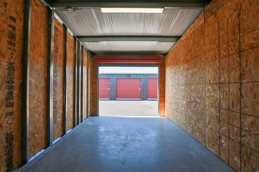 Looking out of a storage unit at Nest Self Storage in Salem, Oregon