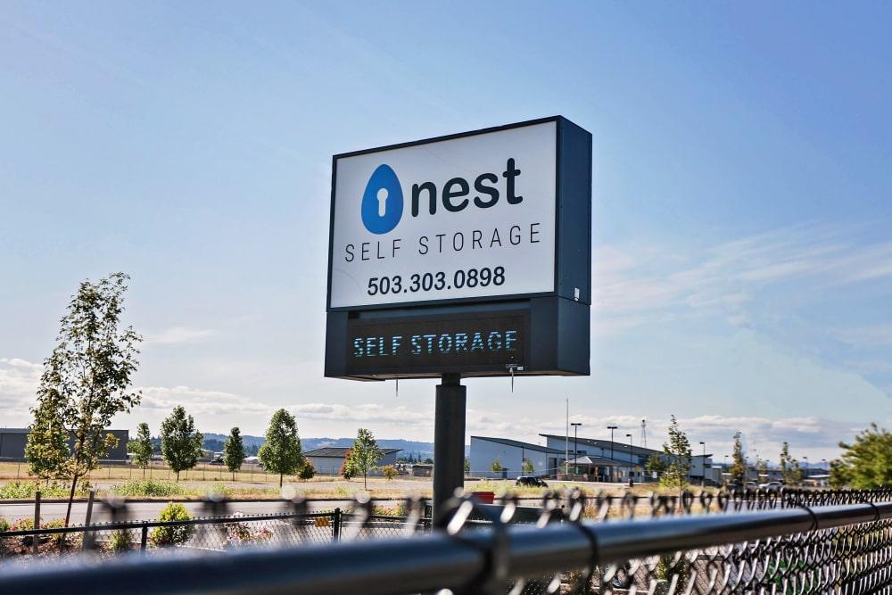 Nest Self Storage highway Sign in Salem, Oregon