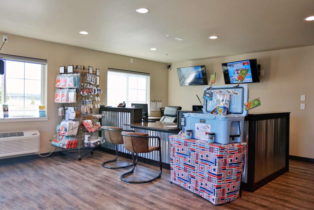 Inside the store at Nest Self Storage in Salem, Oregon
