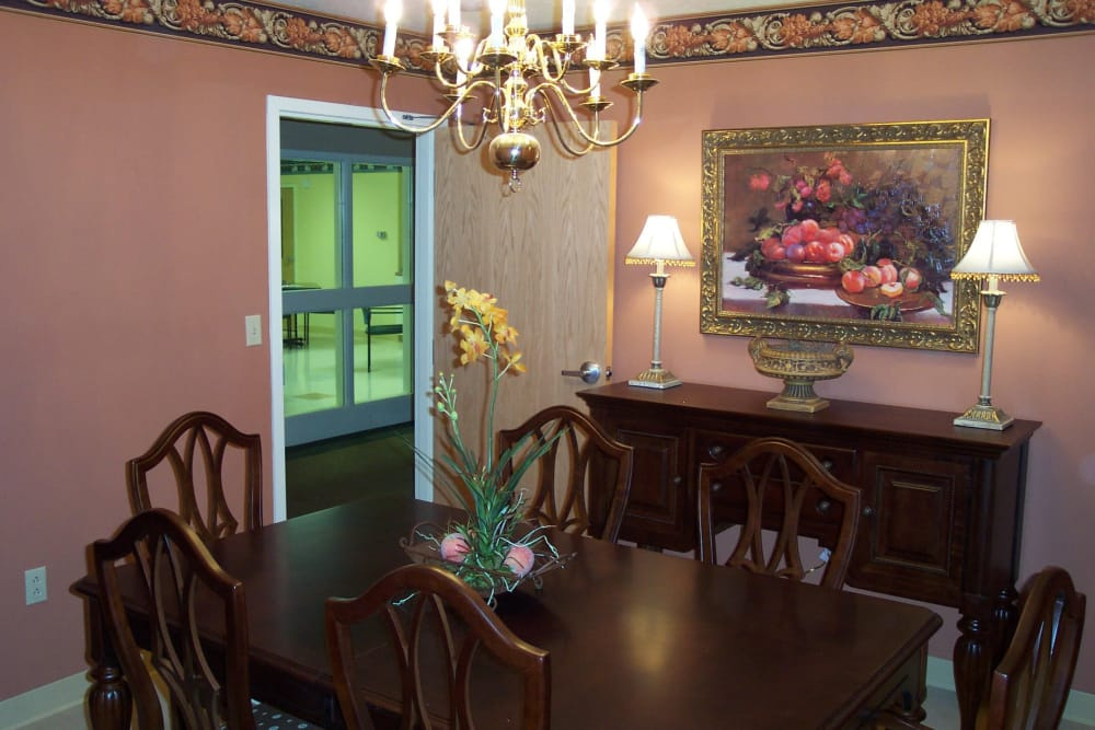 Private dining room at Covered Bridge Health Campus in Seymour, Indiana