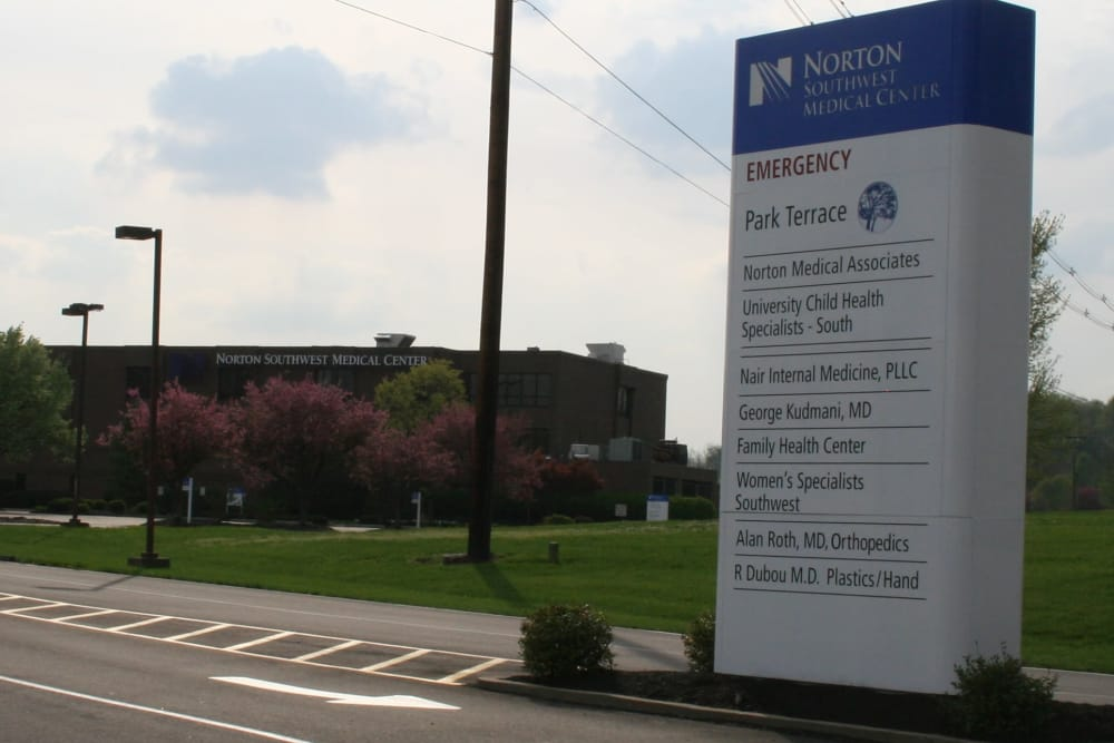 Exterior sign at Park Terrace Health Campus in Louisville, Kentucky