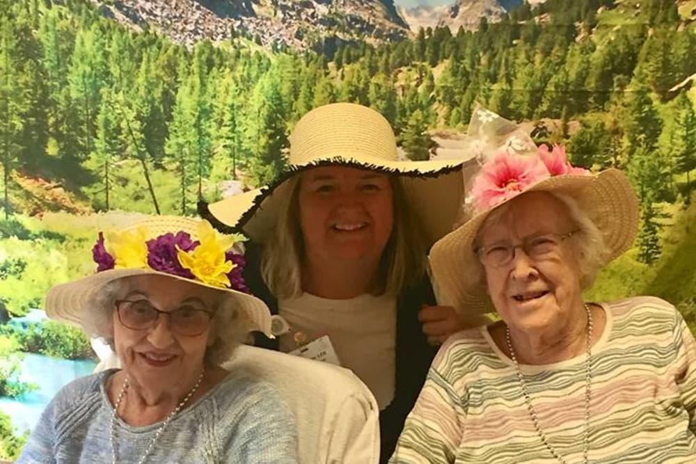 Ladies wearing hats for theme day at Prairie Lakes Health Campus in Noblesville, Indiana