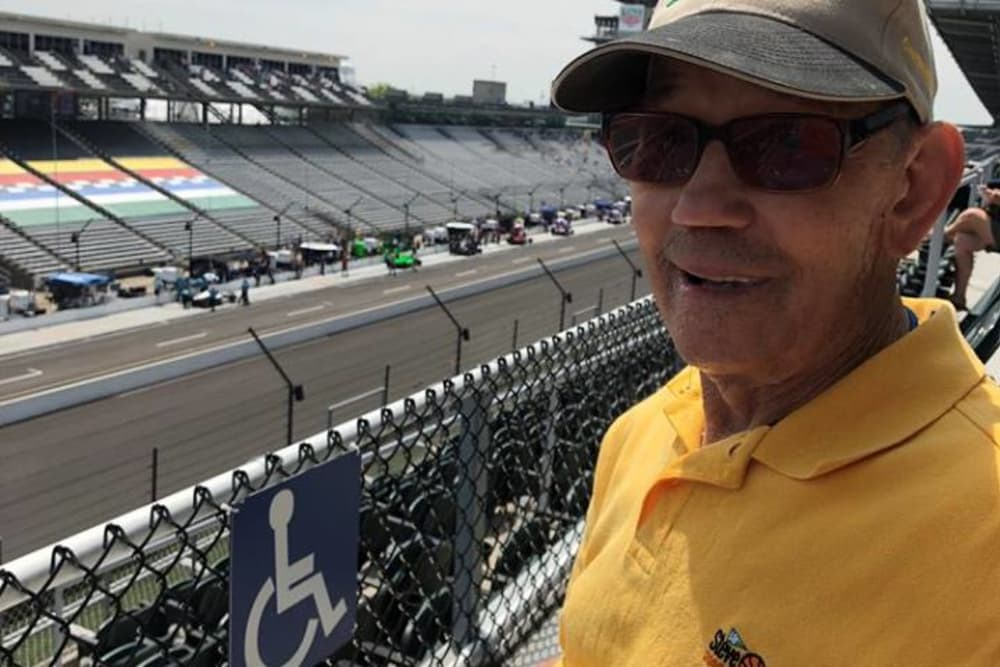 Senior visiting a racetrack at Glen Oaks Health Campus in New Castle, Indiana