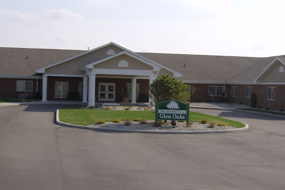 Exterior view of Glen Oaks Health Campus community in New Castle, Indiana