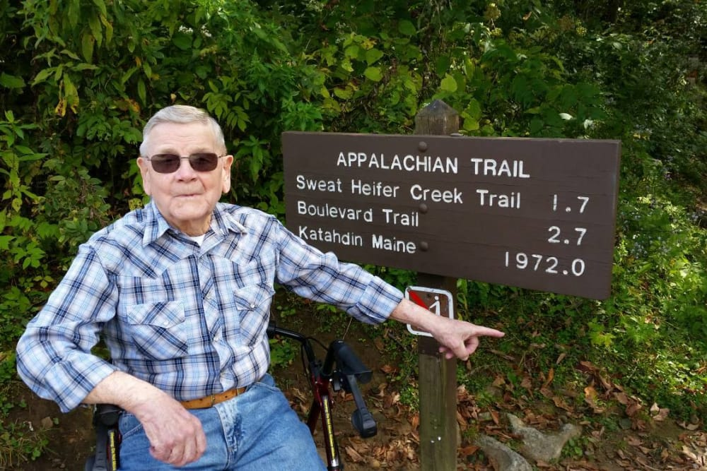 A resident from Forest Park Health Campus in Richmond, Indiana on the Appalachian Trail