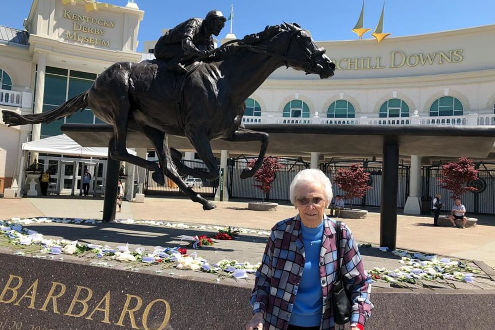 Resident visiting Kentucky Derby Museum in Scottsburg, Indiana near Hampton Oaks Health Campus