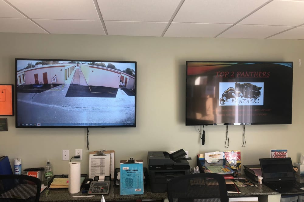 Security cameras in the leasing office at Top Self Storage - North Lauderdale