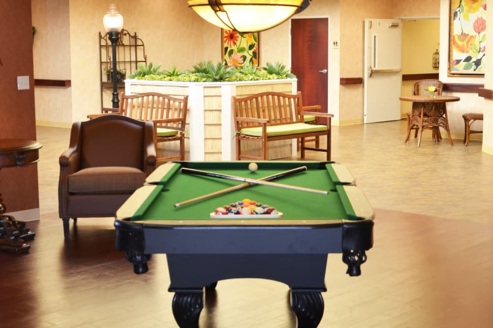 Billiards table at Hearthstone Health Campus in Bloomington, Indiana