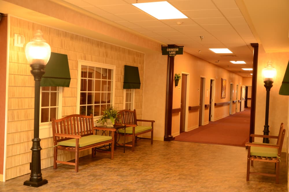 Hall view at Hearthstone Health Campus in Bloomington, Indiana