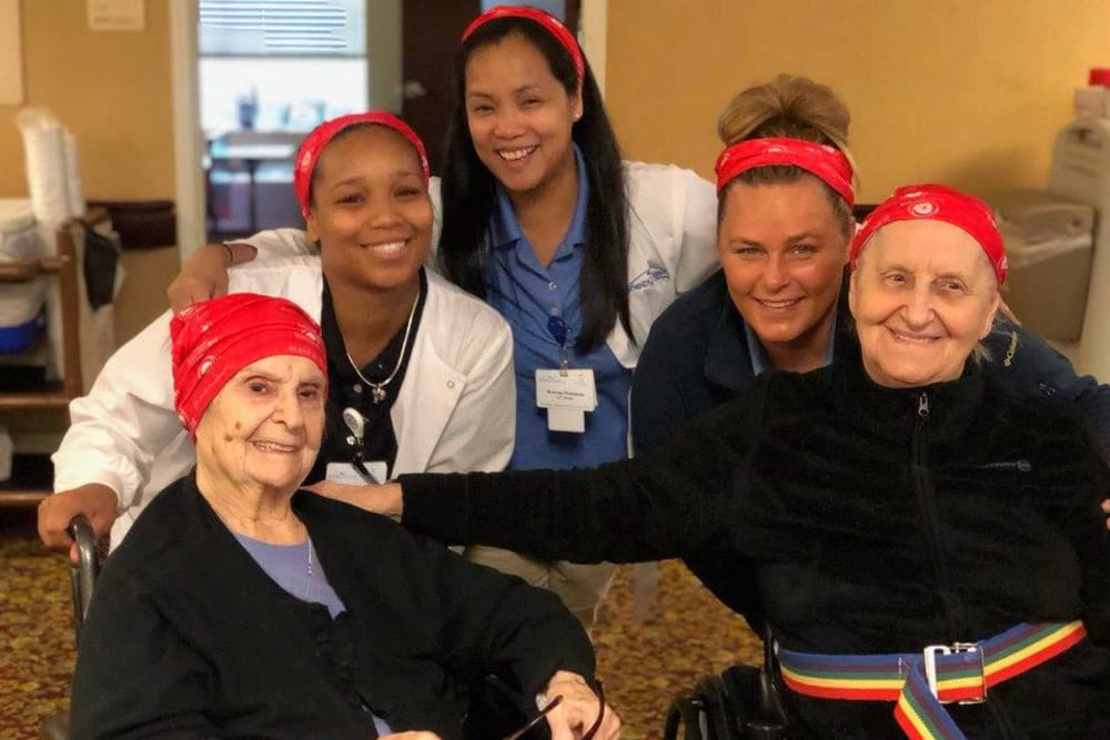 Residents and staff get together to celebrate Wellness week at Shelby Crossing Health Campus in Shelby Township, Michigan