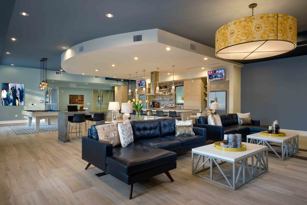 Contemporary decor in resident clubhouse at Capital Place in Phoenix, Arizona