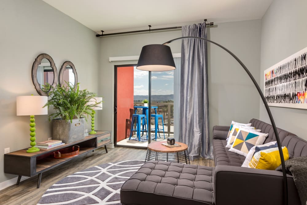 Open-concept floor plan with modern decor model home at Capital Place in Phoenix, Arizona