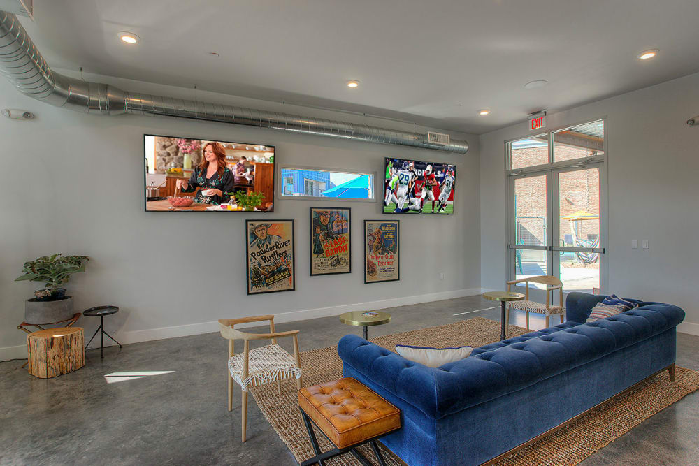 Contemporary decor in resident clubhouse at District Lofts in Gilbert, Arizona