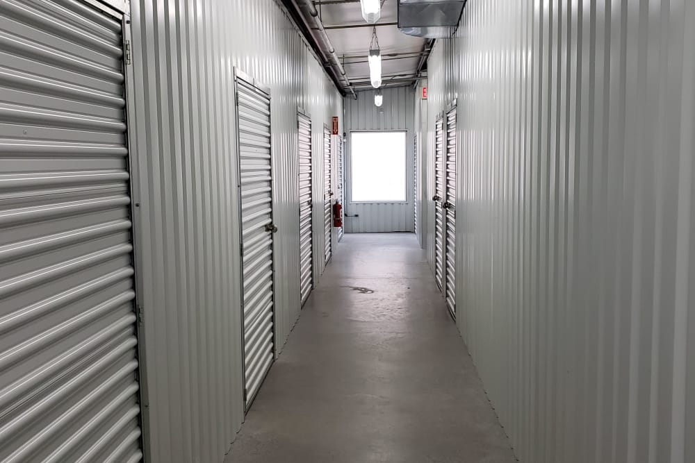 Clean hallway at Prime Storage in Bridgehampton, New York