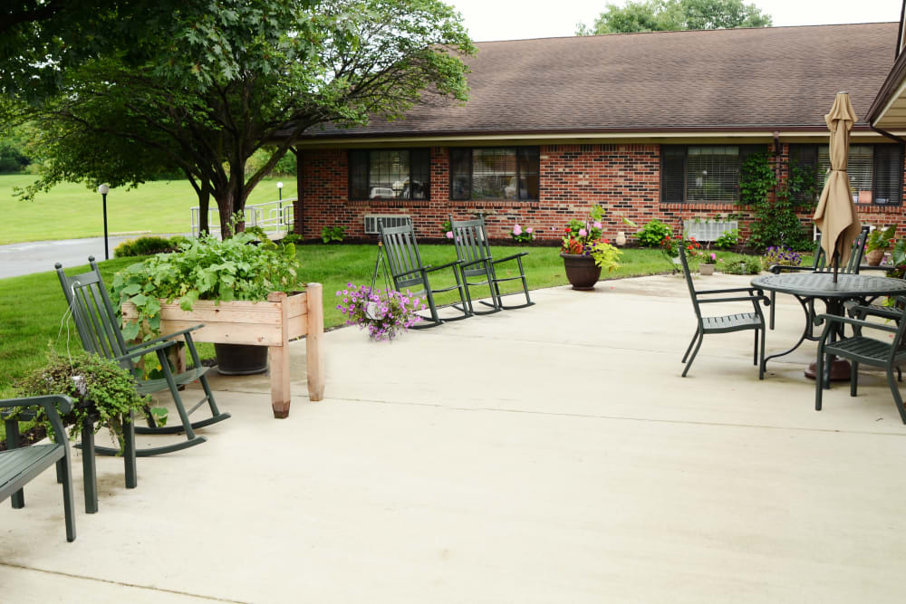Outside patio are with seating at St. Elizabeth Healthcare Campus in Delphi, Indiana