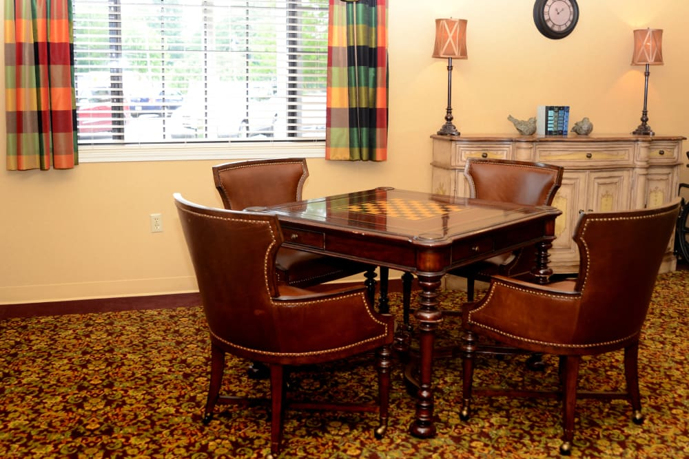 Lounge area with a chess board game table at St. Elizabeth Healthcare Campus in Delphi, Indiana