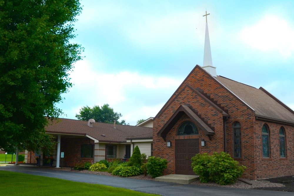 Church facade at St. Elizabeth Healthcare Campus in Delphi, Indiana