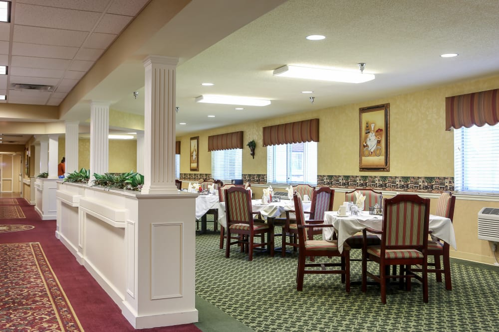 Ample dining room seating at St. Mary Healthcare Center in Lafayette, Indiana