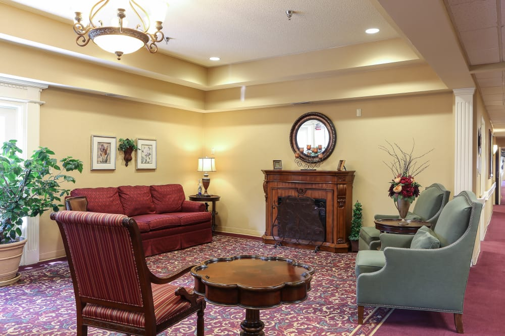 Living room at St. Mary Healthcare Center in Lafayette, Indiana