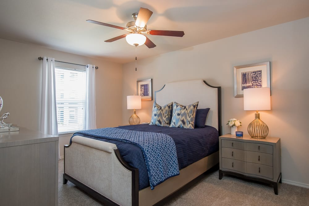 Carpeted bedroom at Scissortail Crossing Apartments in Broken Arrow, Oklahoma