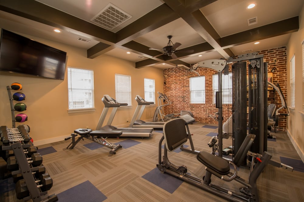 Fully equipped fitness center at Scissortail Crossing Apartments in Broken Arrow, Oklahoma