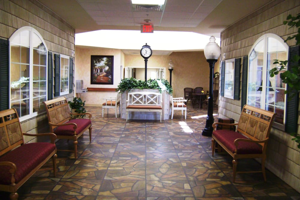 Town Square Hall with ample seating at Stonegate Health Campus in Lapeer, Michigan