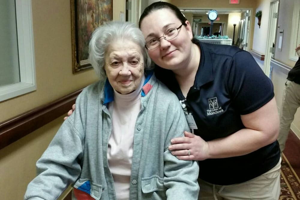 Female resident and staff member pictured together at The Lakes of Monclova in Maumee, Ohio