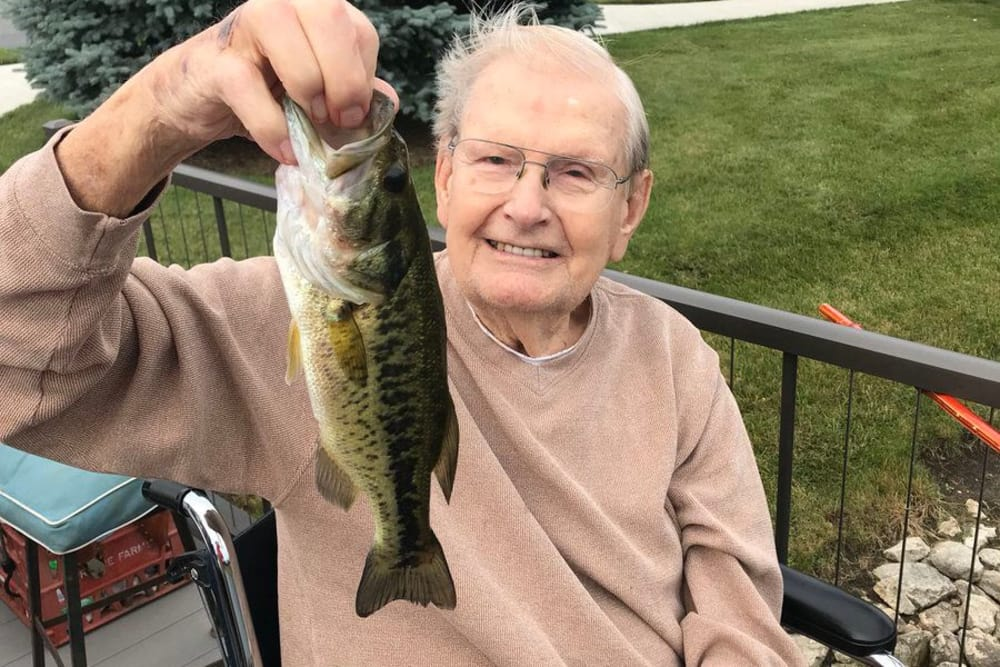 Male resident caught a fish at Waterford Crossing in Goshen, Indiana