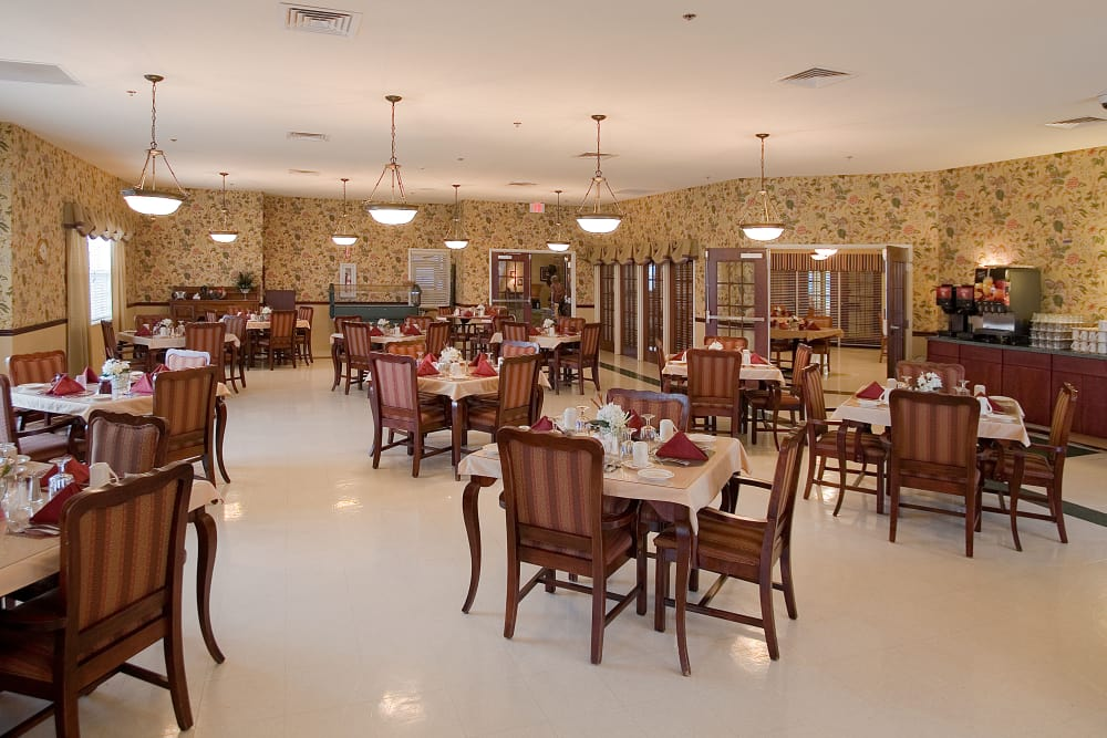 Spacious dining room at Waterford Crossing in Goshen, Indiana