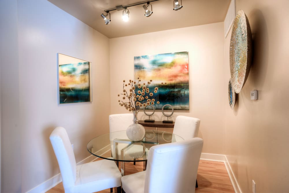 Modern decor in dining nook of model home at Level at Sixteenth in Phoenix, Arizona
