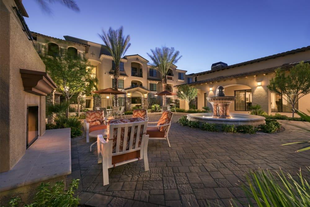 Courtyard with a fountain at dusk at San Milan in Phoenix, Arizona